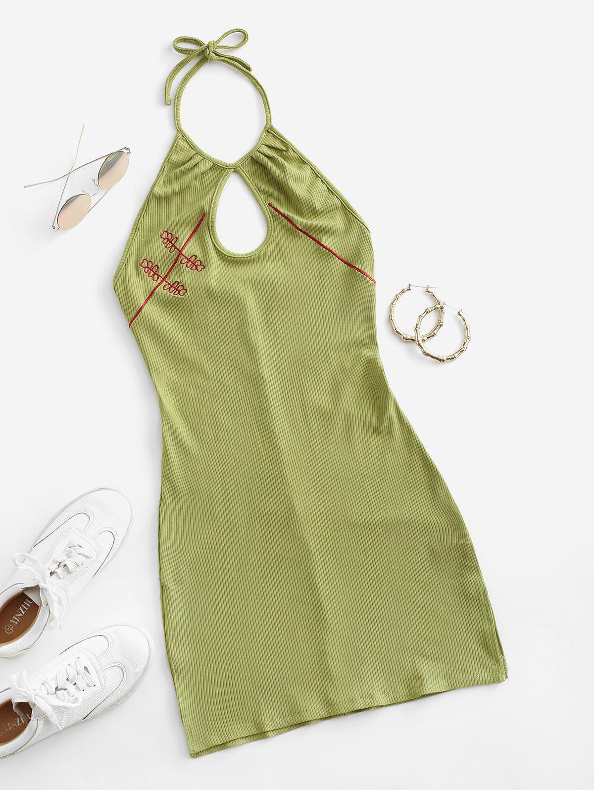 Embroidered Ribbed Keyhole Halter Dress
