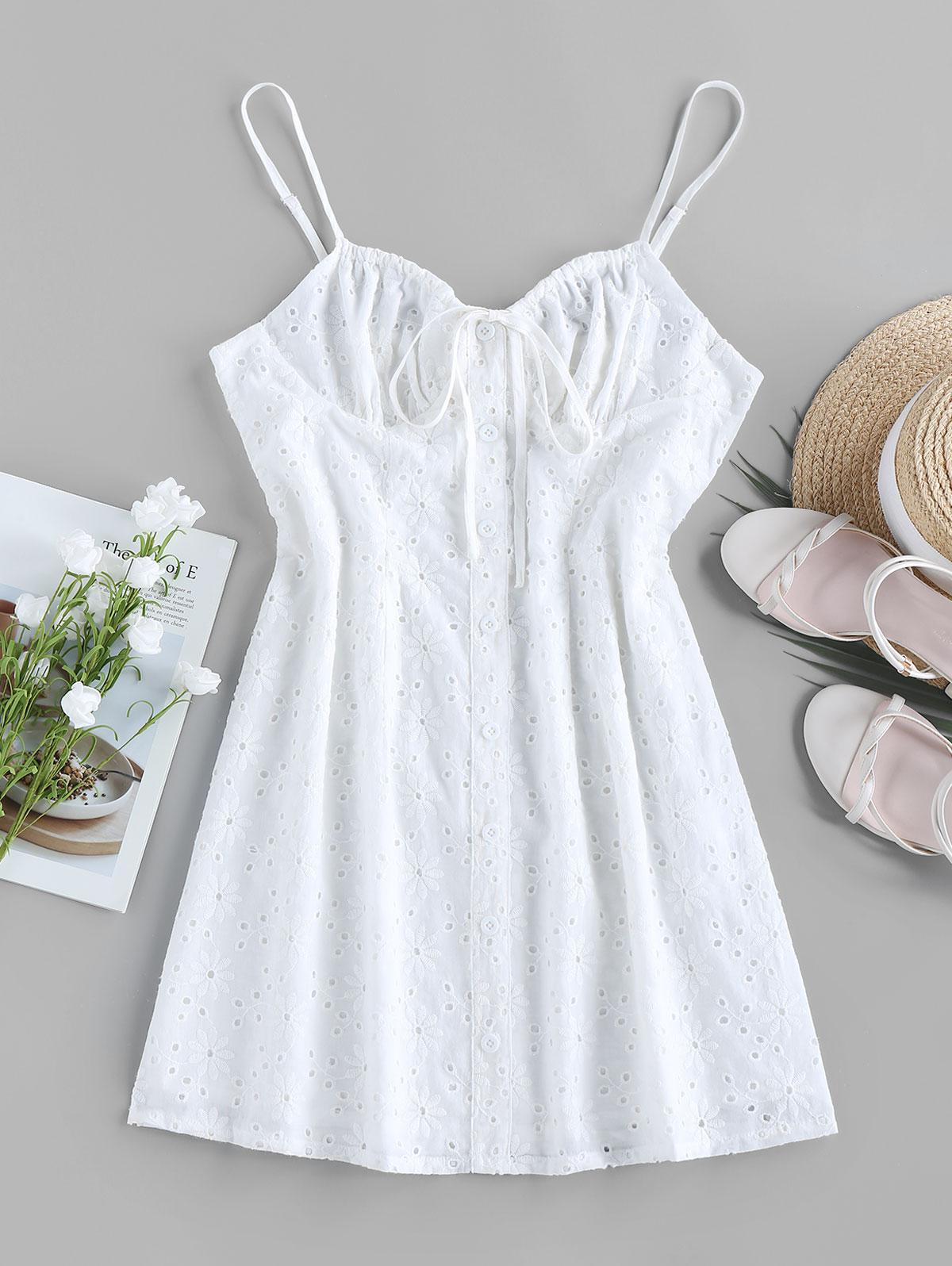 ZAFUL Broderie Anglaise Mock Button Bowknot Dress