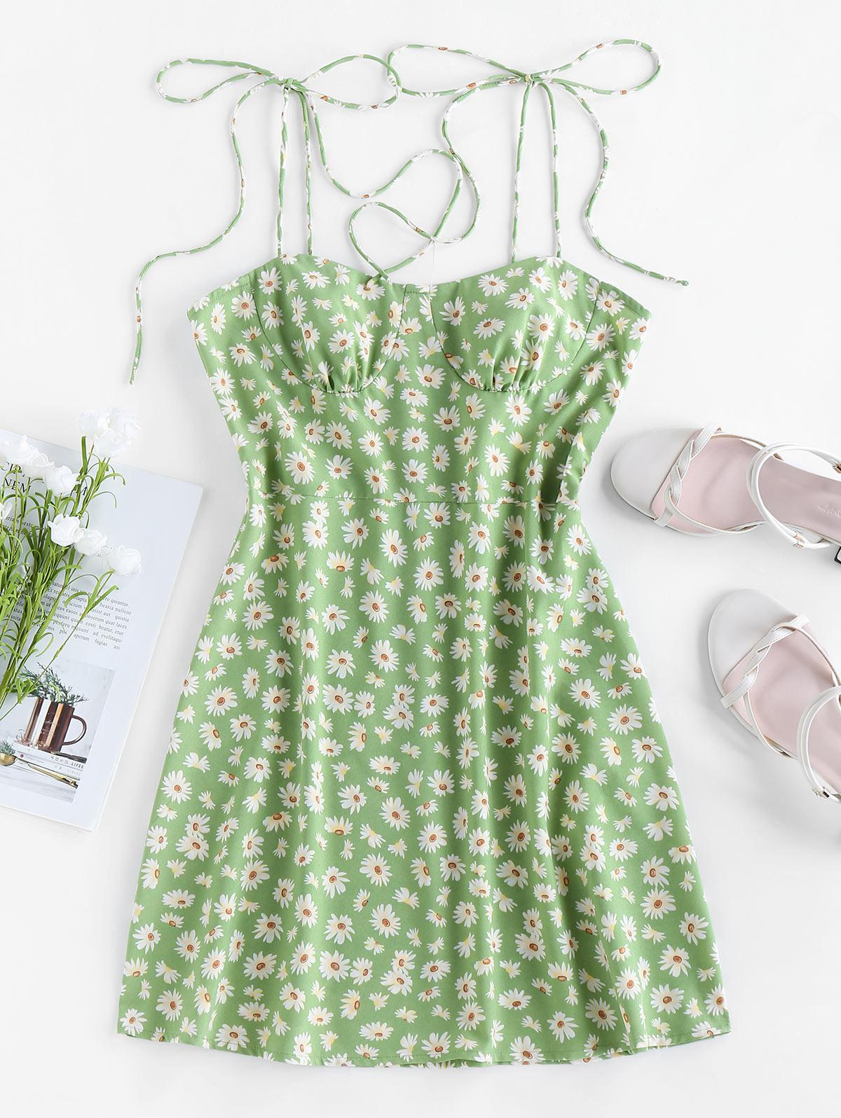 ZAFUL Backless Ditsy Print Tie Shoulder Dress