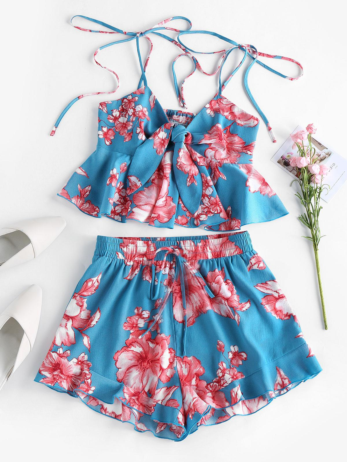 ZAFUL Tie Front Floral Print Two Piece Shorts Set