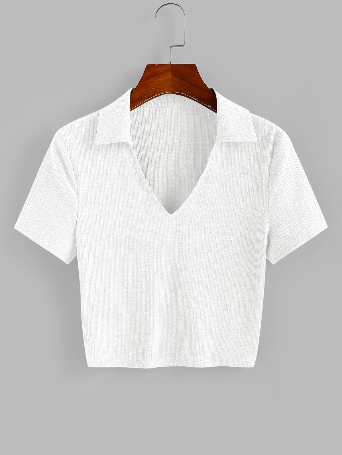 ZAFUL Ribbed V Notched Crop T-shirt