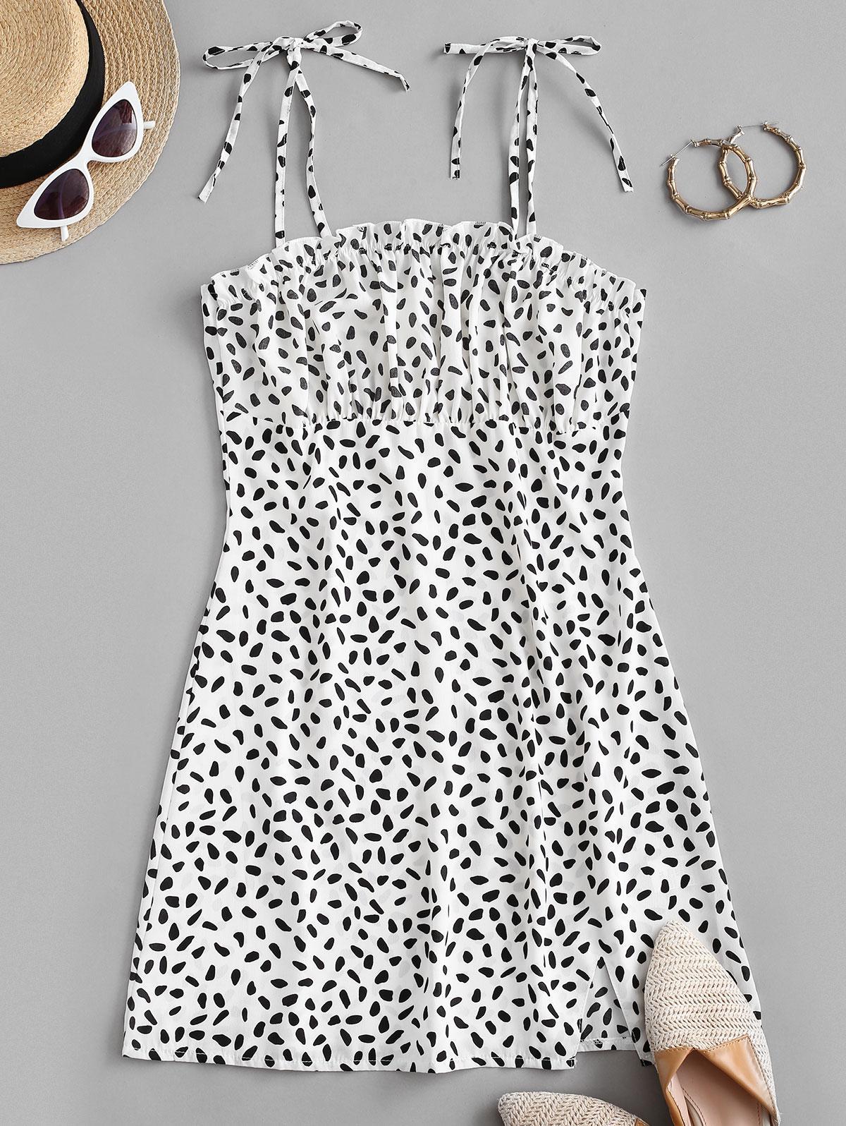 Ditsy Print Tie Strap Cami Slit Dress