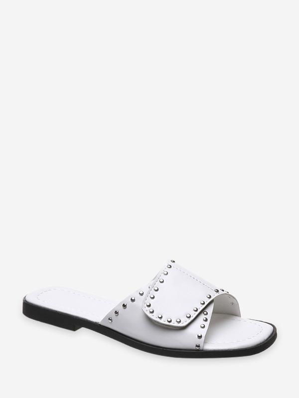 Solid Color Rivet Embellished Sandals