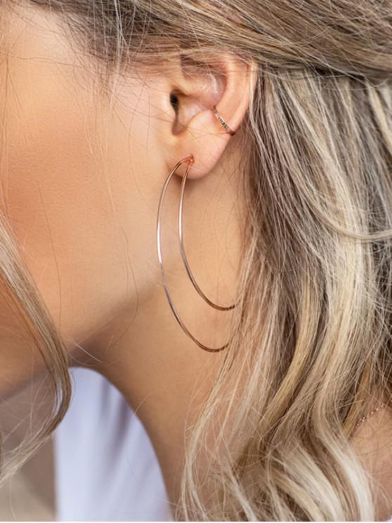 unique Crescent Moon Shape Hollow Earrings - SILVER