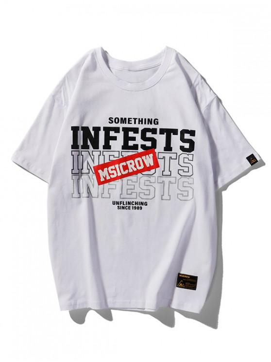 Infests Letter Graphic Basic T-shirt - أبيض XL