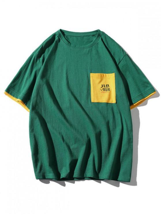 women's Colorblock Letter Pocket Patch T-shirt - MEDIUM SEA GREEN 2XL