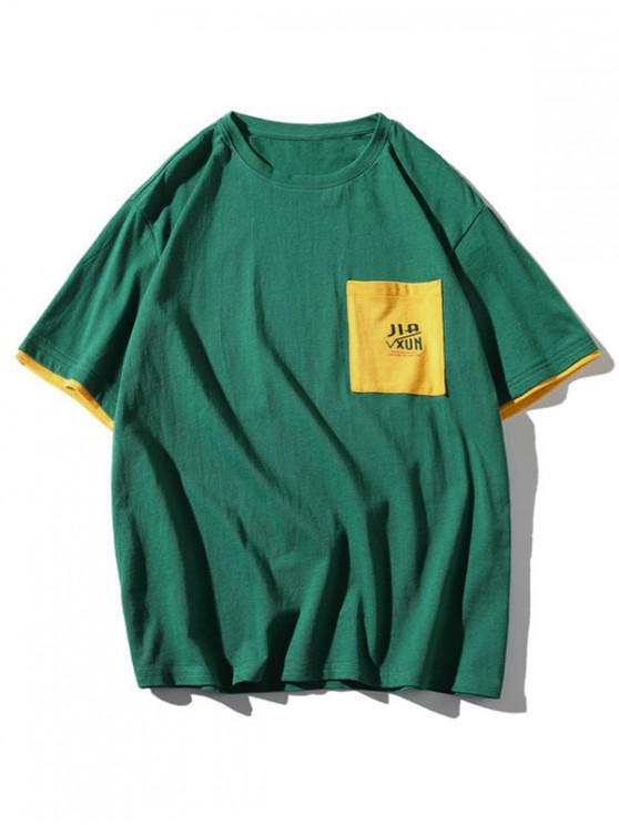 ladies Colorblock Letter Pocket Patch T-shirt - MEDIUM SEA GREEN 3XL
