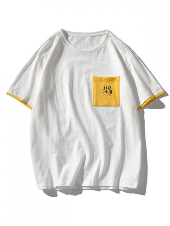 Maglietta con Toppa a Lettera e Tasca a Blocchi di Colori - Bianca 3XL
