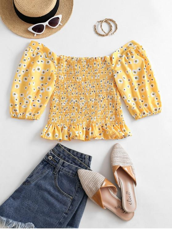 shops Off Shoulder Smocked Daisy Milkmaid Blouse - BEE YELLOW S