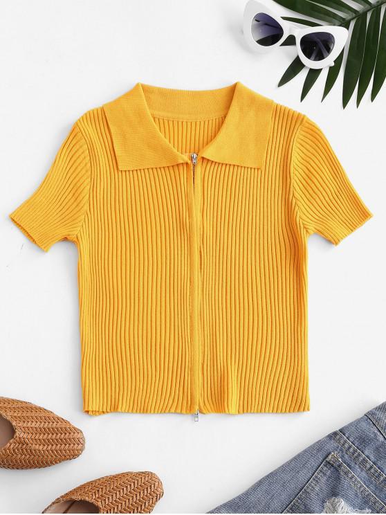 Double Way Zip Ribbed Short Sleeve T-shirt - الأصفر حجم واحد