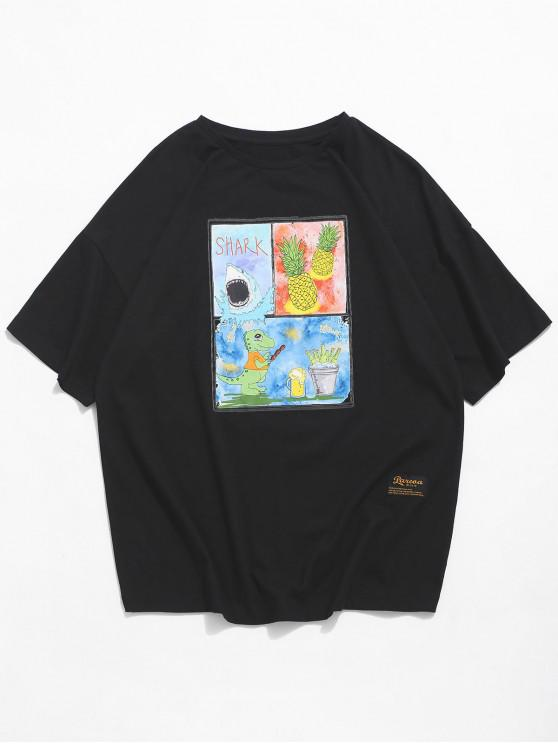 Shark Dinosaur Pineapple Graphic Basic T-shirt - أسود 2XL