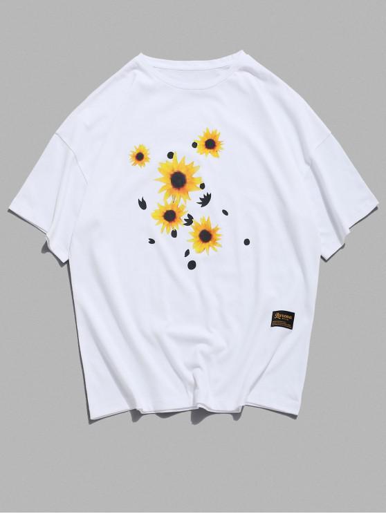 womens Sunflower Pattern Basic T-shirt - WHITE S