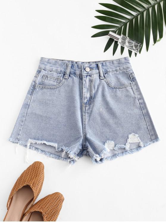 outfits Metallic Thread Pockets Raw Hem Denim Shorts - BLUE M
