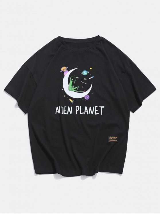 affordable Alien Moon Planet Graphic Basic T-shirt - BLACK 2XL