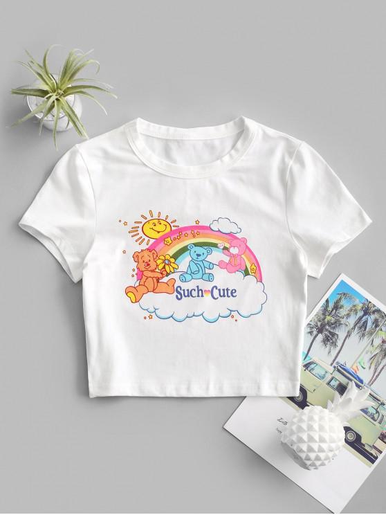 women Such Cute Rainbow Graphic Crop Tee - WHITE M