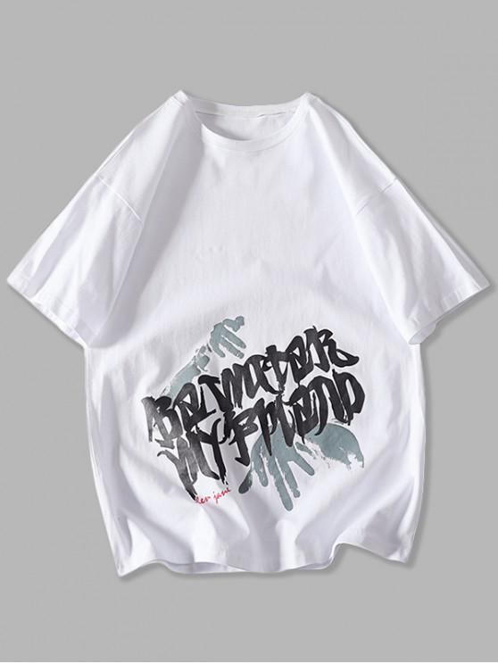Letter Palm Graphic Basic T-shirt - أبيض XS
