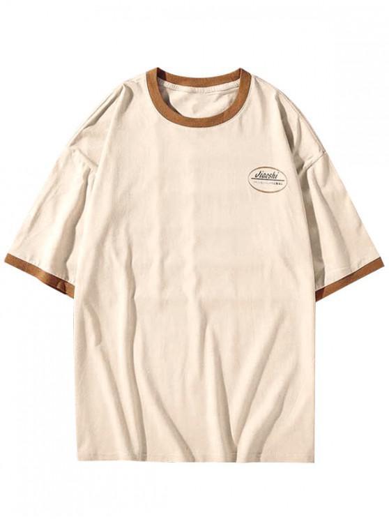 best Letter Print Round Neck Ringer T-shirt - APRICOT 2XL