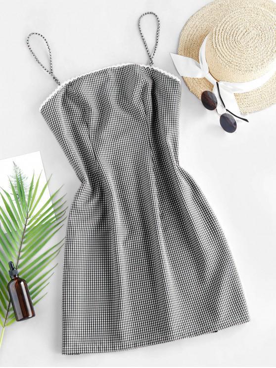 fashion ZAFUL Checked Mini Cami Dress - BLACK S