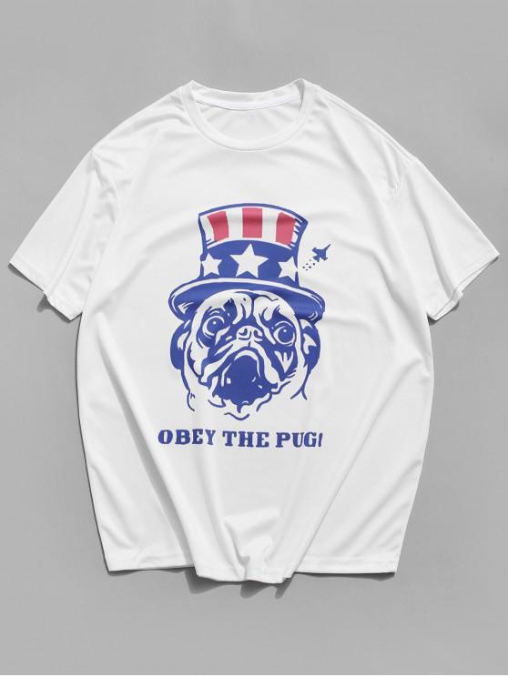 Letter Dog Printed Short Sleeves T-shirt - أبيض 3XL