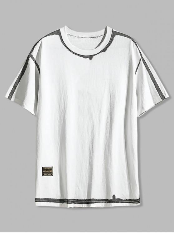 shops Graphic Color Spliced Printed Casual T-shirt - WHITE 3XL
