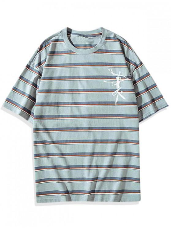 sale Striped Graphic Pattern T-shirt - DAY SKY BLUE L