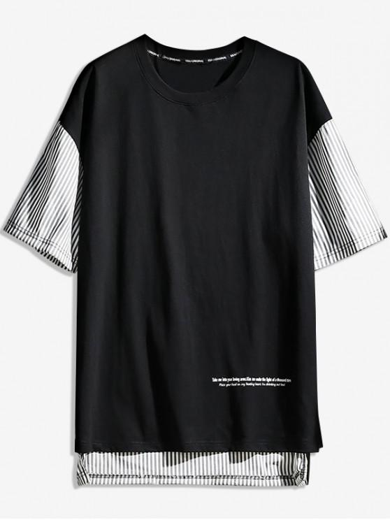 outfit Striped Letter Print Short Sleeves T-shirt - BLACK 3XL