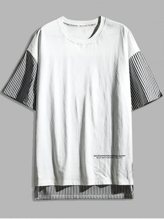 Striped Letter Print Short Sleeves T-shirt - أبيض XL