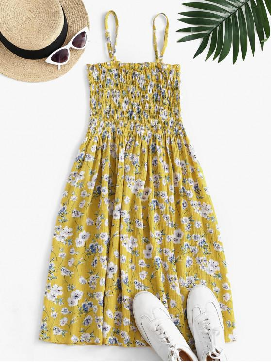 fancy Floral Smocked Frilled Cami Summer Dress - YELLOW M