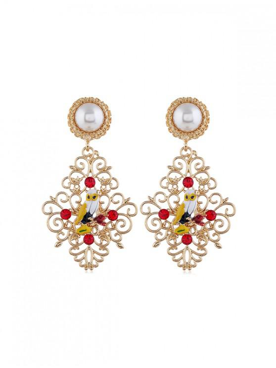 shop Hollow Out Faux Pearl Owl Drop Earrings - MULTI