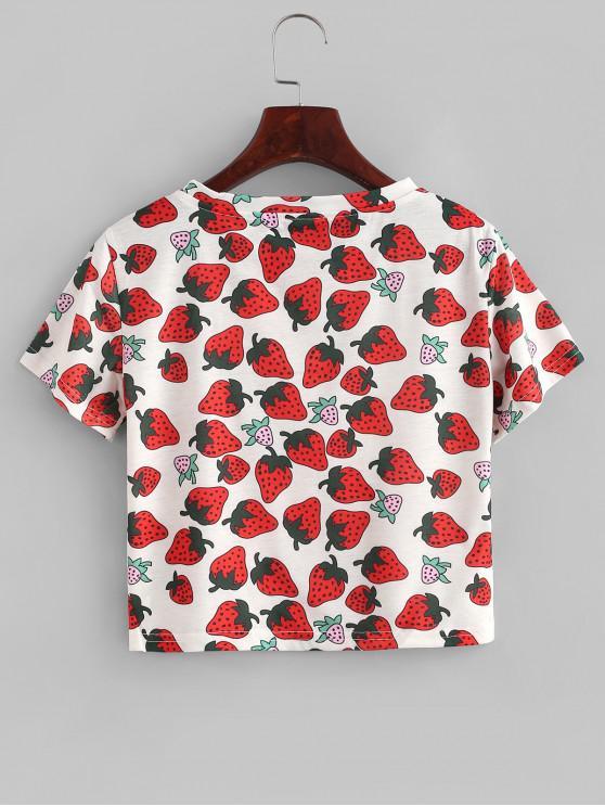 Strawberry Print Slim Crop Tee - Multi-a   ZAFUL