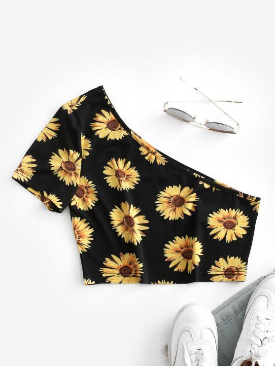 ZAFUL T-shirt Court Fleur Imprimée à Une Epaule - Noir S
