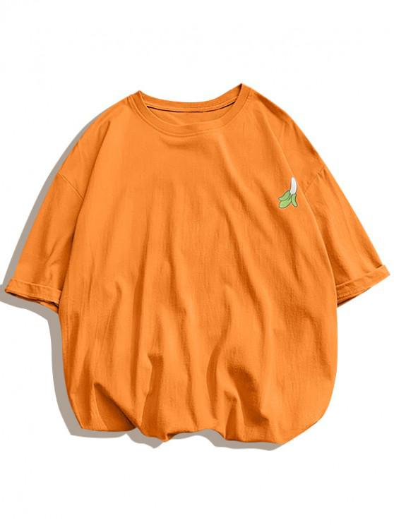 Banana Print Round Neck T-shirt - برتقالي قاتم 2XL