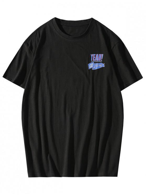 Maglietta Casual con Stampa Grafica e Scollo Rotondo - Nero XL