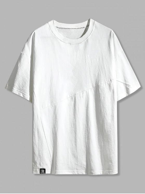 文字パターンのレジャーコットンTシャツ - 白 2XL