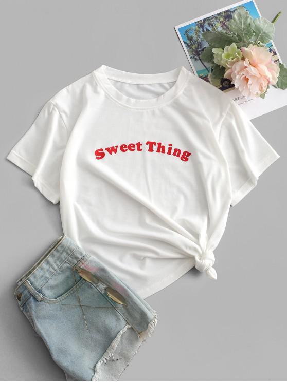 new Sweet Thing Graphic Basic T-shirt - WHITE M