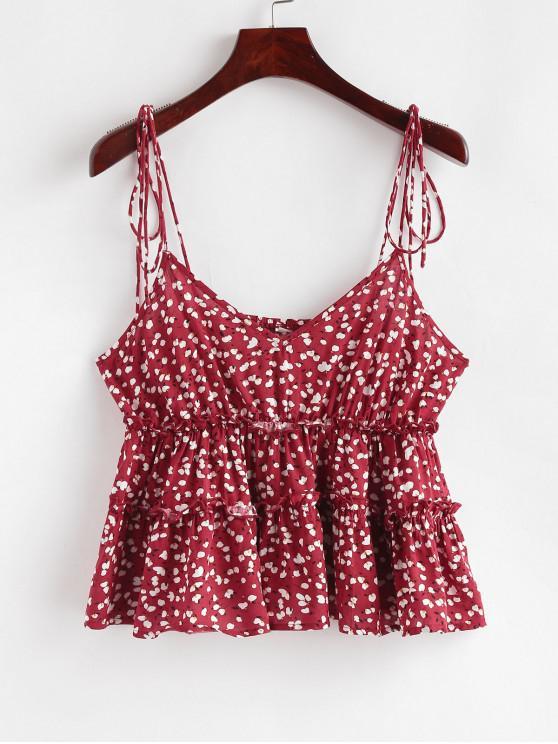 shops ZAFUL Ditsy Print Tie Strap Peplum Cami Top - LAVA RED M