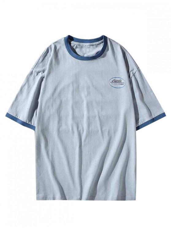 women Letter Print Round Neck Ringer T-shirt - DODGER BLUE 3XL