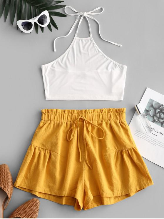 shops ZAFUL Halter Top and Paperbag Shorts Set - WHITE XL