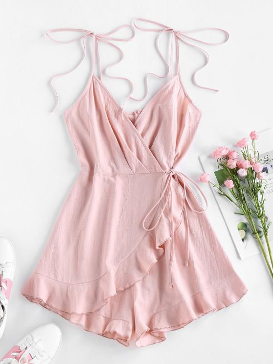 fashion ZAFUL Ruffle Tie Shoulder Overlap Wide Leg Romper - ROSE S
