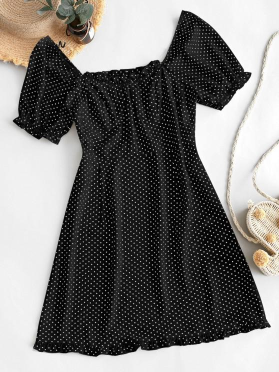 womens ZAFUL Polka Dot Ruffles Mini Dress - BLACK S