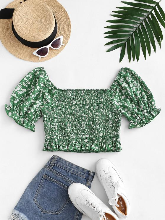 fancy ZAFUL Puff Sleeve Ditsy Print Crop Blouse - PINE GREEN S