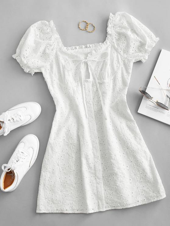 fancy ZAFUL Broderie Anglaise Puff Sleeve Tie Milkmaid Dress - WHITE M