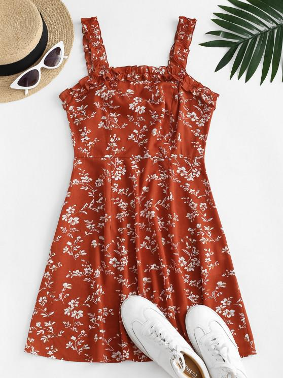 womens ZAFUL Ditsy Print Lettuce Trim Open Back Dress - LAVA RED S