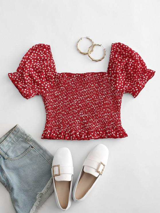 new ZAFUL Ditsy Floral Puff Sleeve Smocked Milkmaid Top - RED L