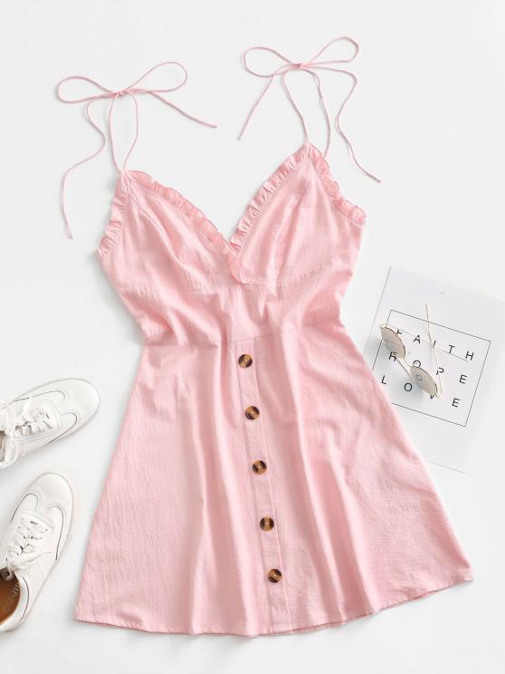 online ZAFUL Ruffle Tie Shoulder Mock Button Backless Dress - PINK ROSE M