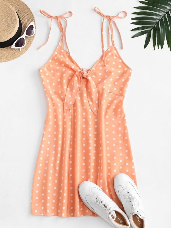 chic ZAFUL Tie Front Polka Dot Mini Dress - LIGHT SALMON M