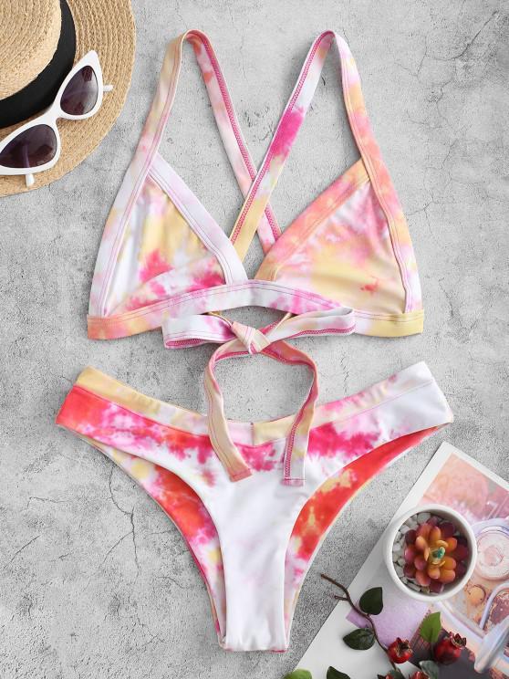 hot ZAFUL Tie Dye Criss Cross Bralette Bikini Swimwear - MULTI-B S