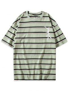 Striped Graphic Pattern T-shirt - Green Onion 3xl
