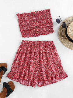 ZAFUL Ditsy Floral Smocked Bandeau Two Piece Set - Cherry Red M