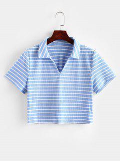 ZAFUL T-shirt Court Rayé Côtelé - Bleu Léger  L